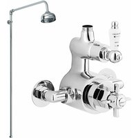 Traditional Twin Exposed Thermostatic Shower Valve, Rigid Riser Kit, Fixed Head, Chrome - Nuie