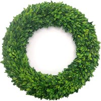Preserved Boxwood Wreath Decor 20 inch Nature Real Handcrafted Boxwood Round Wreath Green Garland for Indoor Farmhouse Decorations Wreath Wall Window