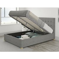 Presley Ottoman Upholstered Bed, Eire Linen, Grey - Ottoman Bed Size Single (to fit mattress size 90x190)