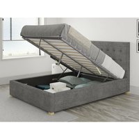 Presley Ottoman Upholstered Bed, Firenza Velour, Charcoal - Ottoman Bed Size Double (135x190)
