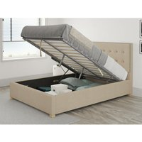 Presley Ottoman Upholstered Bed, Kimiyo Linen, Beige - Ottoman Bed Size Single (to fit mattress size 90x190)