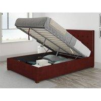 Aspire - Presley Ottoman Upholstered Bed, Kimiyo Linen, Bordeaux - Ottoman Bed Size Superking (180x200)