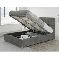 Aspire - Presley Ottoman Upholstered Bed, Kimiyo Linen, Granite - Ottoman Bed Size Small Double (120x190)