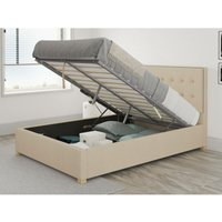 Presley Ottoman Upholstered Bed, Malham Weave, Cream - Ottoman Bed Size Single (90x190)
