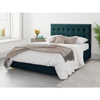 Presley Ottoman Upholstered Bed, Plush Velvet, Emerald - Ottoman Bed Size Single (to fit mattress size 90x190)