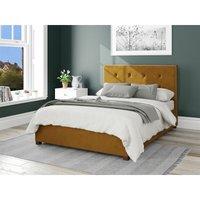 Aspire - Presley Ottoman Upholstered Bed, Plush Velvet, Ochre - Ottoman Bed Size Single (90x190)