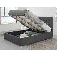 Presley Ottoman Upholstered Bed, Plush Velvet, Steel - Ottoman Bed Size Single (90x190)