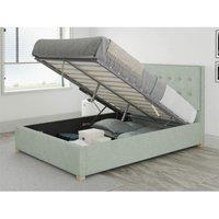Presley Ottoman Upholstered Bed, Pure Pastel Cotton, Eau De Nil - Ottoman Bed Size Single (90x190)