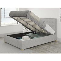 Presley Ottoman Upholstered Bed, Pure Pastel Cotton, Storm - Ottoman Bed Size Double (to fit mattress size 135x190)