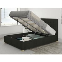 Presley Ottoman Upholstered Bed, Saxon Twill, Charcoal - Ottoman Bed Size King (to fit mattress size 150x200)