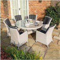 Prestbury 6 Seater Rattan Round Dining Table Chair Set Garden Patio - Rowlinson
