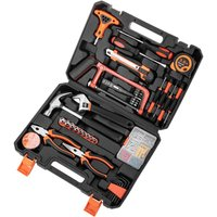 PrimeMatik - 82 piece basic tool set. Screwdriver, pliers, hammer, tape measure, etc.