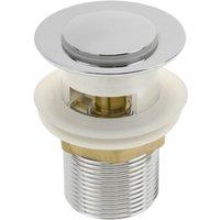 PrimeMatik - Basin sink waste tap plug 8cm with overflow. Slotted bathroom push pop up sprung universal G1-1/4 chrome