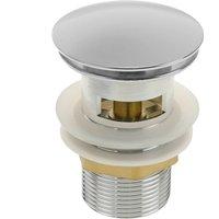 Basin sink waste tap plug 9cm with overflow. Slotted bathroom push pop up sprung universal G1-1/4 chrome - Primematik