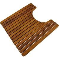 PrimeMatik - WC and bathroom mat 51 x 51 cm square. Certified teak wooden platform