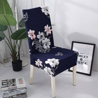 Printed Chair Cover Soft Milk Silk Home Seat Protector Stretch Anti Dust,model:Blue 2