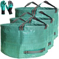 Briday - Professional 3-Pack 63 Gallons Lawn Garden Bags (D31, H19 inches) Reusable Yard Waste Bag with Gardening Gloves - Patio Standable Bag,Leaf