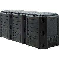 Composter Garden Bin 380L 800L 1200L 1600L Waste Converter Black Composting Unit 1200 L