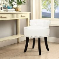 PU Leather Vanity Dressing Table Stool Makeup Piano Chair Living Dining Room Bedroom Seat Beige