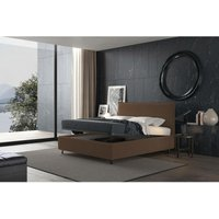 puccini bed with single container brown, vintage effect fabric - TALAMO ITALIA