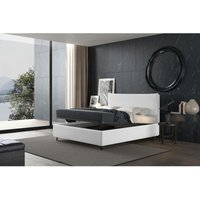 puccini bed with single container white, polyester fabric - TALAMO ITALIA