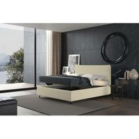 puccini bed with single container cream, polyester fabric - TALAMO ITALIA