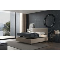 puccini bed with single container turtledove grey, polyester fabric - TALAMO ITALIA