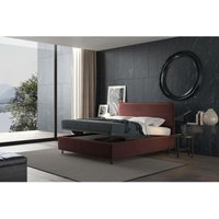 puccini bed with single container burgundy, velvet - TALAMO ITALIA