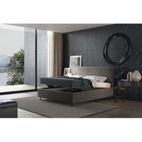puccini bed with single container grey, velvet - TALAMO ITALIA