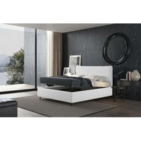puccini bed with single container white, eco-leather - TALAMO ITALIA