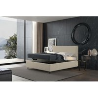 puccini bed with single container cream, eco-leather - TALAMO ITALIA