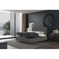 puccini bed with single container grey, eco-leather - TALAMO ITALIA