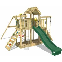 Wooden climbing frame Smart Twister with swing set and green slide, Garden playhouse with sandpit, climbing ladder and play-accessories - Wickey