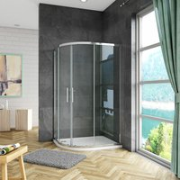 1000x800x1850mm Quadrant Shower Enclosure Sliding Shower Door Tempered Glass with 1000x800x30mm left entry shower tray and Riser Kit and Plinth
