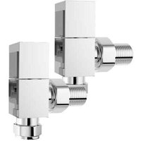 Quality Angled Chrome Radiator Valves, Square Type, Solid Brass, 1/2 BSP 15mm - SOL*AIRE HEATING PRODUCTS