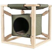 Quapas! Cat Bed with Hammock Catcube Green L 62.5x62.5x62.5 cm