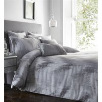Quartz Shimmer Jacquard Super King Size Duvet Cover Set Bedding Quilt Silver Grey - BEDMAKER