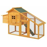 Rabbit Bunny Hutch Cage House Guinea Pig Hutch Hide/Run with Linoleum Roof 2-Tier