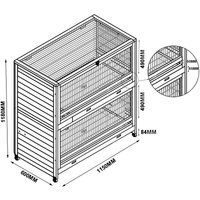 Rabbit hutch / chicken coop rabbit run, guinea pig hutch, chicken hut 115 x 60 x 118 cm - MERCATOXL