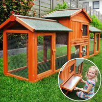 Rabbit hutch / chicken coop rabbit run, guinea pig hutch, chicken hut 210 x 54 x 85,5 cm - MERCATOXL