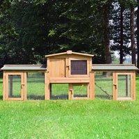 Rabbit hutch / chicken coop rabbit run, guinea pig hutch, chicken hut 220 x 56 x 83 cm - MERCATOXL