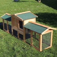 Rabbit Hutch Guinea Pig Hutches Run Extra Large 2 Animals Double Decker Ferret Cage - WILTEC