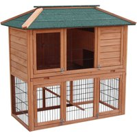 Rabbit hutch Open enclosure in the basement Spruce wood Tar roof Pet hutch - WILTEC