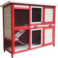 Rabbit Hutch with Two Levels, Stairs and extendable Tray - WILTEC
