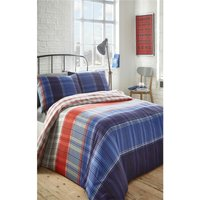 Radley Double Duvet Cover Set Reversible Bedding Chequered Blue Red - BEDMAKER
