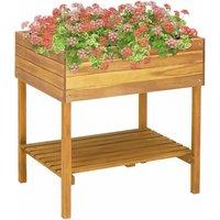 Raised Garden Planter 78.5x58.5x78.5 cm Solid Acacia Wood -