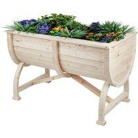 Trueshopping - Raised Wooden Planter Barrel Box Flower Vegetable Plant Pot Outdoor Herb Garden
