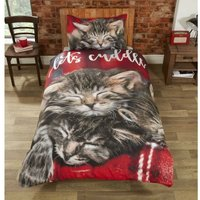 Cuddle Cats Duvet Set, Multi, Single-135 x 200 cms - Rapport