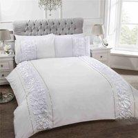 Provence Duvet Set, Single-White, Polyester-Cotton - Rapport