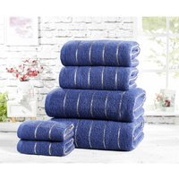 Rapport Six Piece 100% Cotton Towel Set Modern Striped Navy Bath Sheets